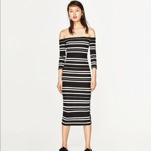 Zara off the shoulder fitted dress